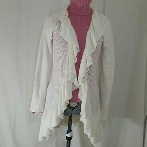 WHBM Ivory Ruffled Cardigan Sweater Size M